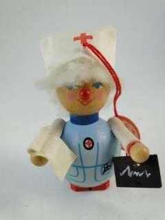 Vintage Steinbach German Wood Miniature Nurse Figurine Christmas