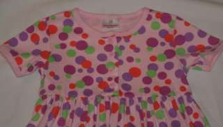 HANNA ANDERSSON Girls Play Dress Day Short Sleeve Knit Pink Polka Dot
