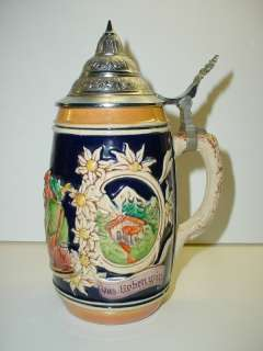 Vintage German half liter Beer Stein with Pewter Lid
