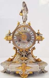 French 2 tone silver & gold gilded 8 day bell strike mantel clock