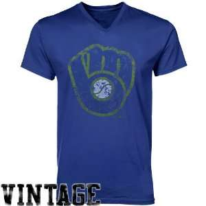 MLB Majestic Threads Milwaukee Brewers Cooperstown V Neck T Shirt