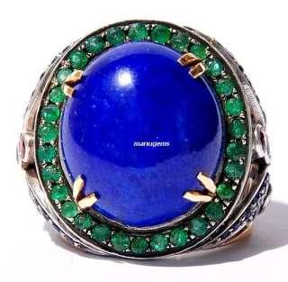 Stunning huge 14kt Lapis Lazuli Emerald Ruby Blue Sapphire Ring
