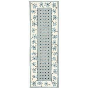 by 8 Feet Hand hookedWool Area Runner, Blue and Ivory