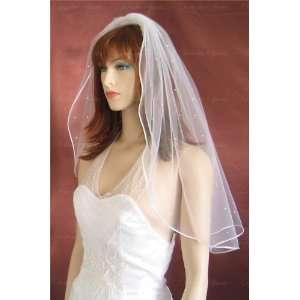 Shoulder Length Pencil Edge Scattered Rhinestone Wedding Bridal Veil