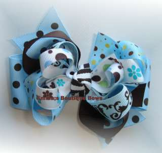 Fall Blue and Brown toddler/girls Boutique hair bow