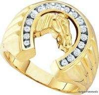 Man Horseshoe Diamond Gold Ring success luck ice mens