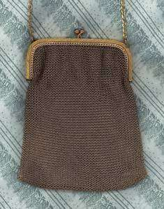 Antique Made in France Gold Tone Chain Mesh Evening Bag