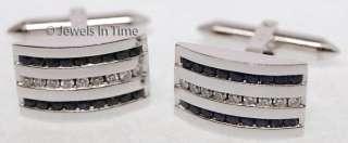 Mens 18K White Gold Diamond & Sapphire Cufflinks   JEWELS IN TIME