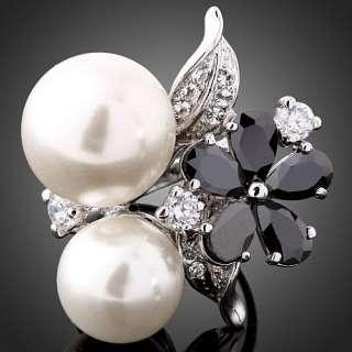 ARINNA Pearl Black Onyx Swarovski Crystal Gold WGP Ring