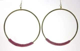NEW NUGAARD DESIGNS Gold Tone Pink Leather Hoop Earrings