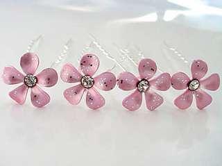 Pearl Pink Bridal Flower Crystal Hair Pin ~ Set of 4 ~