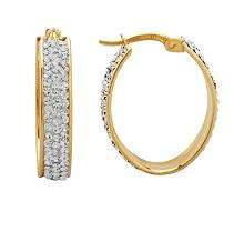 Oval Hoop Earrings in Sterling Silver and 14K Yellow Gold