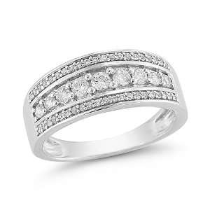14k White Gold Diamond Ring (1/2 cttw H I Color, I1 I2 Clarity), Size