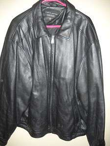 Mens Black Genuine Leather Jacket Size XL EUC