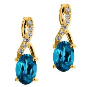 17 Ct Genuine Oval London Blue Topaz Gemstone 14k Yellow Gold Earrings
