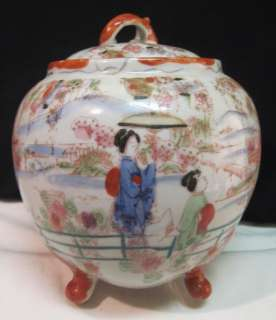 JAPANESE GEISHA GIRL~HAND PAINTED IMARI TEA CADDY~TOBACCO JAR~JAPAN
