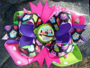 OWLS PERSONALIZED NAME HOT PINK LIME BOTTLECAP HAIRBOW