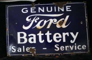 1930S PORCELAIN FORD BATTERY SALES AND SERVICE SIGN, RARE HEAVY