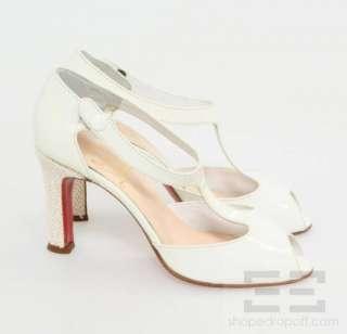 Christian Louboutin Ivory Patent Leather T Strap Peep Toe Heels Size