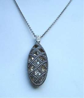 Judith Jack Pendant Necklace 2 sided Marcasite Sterling Silver/Gold