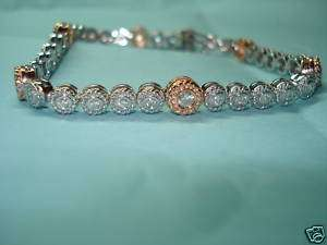 14K WHITE & ROSE GOLD NEW STYLE TENNIS DIAMOND BRACELET BEZEL SET 1