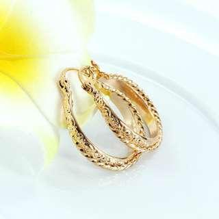 Brilliant 9K Gold Filled Womens Hoop Earrings~