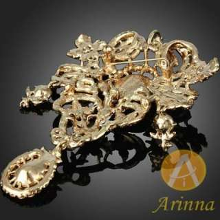 petal shape graceful brooch pin gold GP Swarovski Crystals