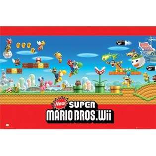 Super Mario   Wii Poster 34x22  AF Custom Frames For the Home Wall