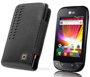 Leather Case Pouch Cover for LG Optimus NET P690; w/Holster Belt Clip