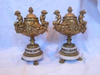 Gilt BRONZE Bacchus Putti Cherub Marble French CLOCK Garniture