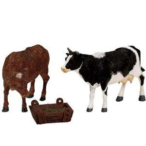 Village Collection Feeding Cow & Bull Figurines #12512