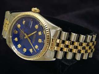 Mens Rolex Two Tone 18k Gold/Stainless Steel Datejust Date Watch Blue