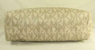 Michael Kors MK Logo PVC Large Shoulder Tote Bag Purse Vanilla Used