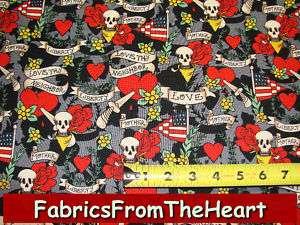 Tattoo Love Skulls Roses USA Flag Michael Miller Fabric