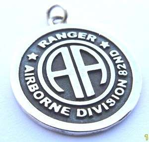 SILVER 925 Army 82nd Airborne Ranger PENDANT Necklace