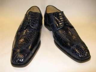 8011 Navy Caiman/Alligator Exotic Skin Dress Shoes Size 11