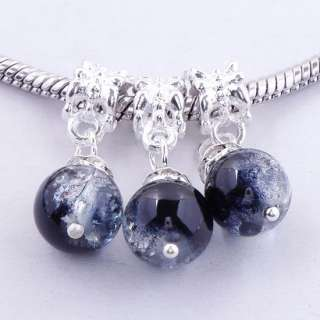 5X Colorful Crystal Glass Ball Dangle European Beads Charm Pendant Fit