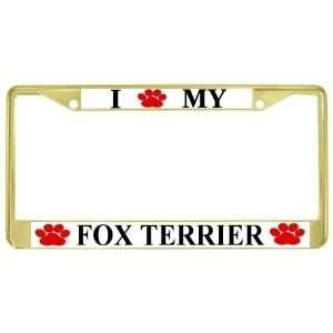 My Fox Terrier Paw Prints Dog Gold Metal License Plate Frame Holder