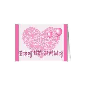 17th Birthday, Pink hearts, balloons & hearts Card Toys & Games