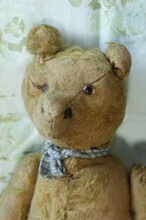Old 1905 Primitive Antique 14 Teddy Bear Gold Brown Mohair Straw