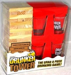 DRUNKEN TOWER DRINKING GAME PARTY FUN ALCOHOL SHOTS 4 SHOTGLASSES