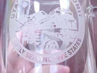 Fabulous UNION PACIFIC Railroad Glass Mug 2001 UTAH Service Unit