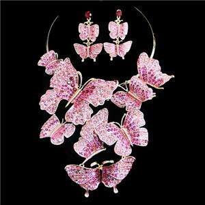 Butterfly Necklace Earring Set Swarovski Crystal Pink Choker Insect