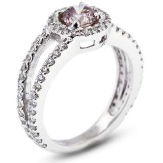 Cut Pink SI1 Round Diamond 14k Gold Halo Engagement Ring 4.30gm
