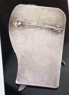 Sterling Silver Amethyst Cabochon Modernist Design Face Pin Artisan