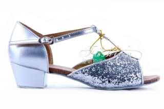 Girls Ballroom Latin Salsa Jazz Dance Shoes Sequins Shoes Heel Height