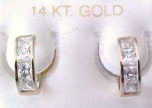 14kt Yellow Gold Princess Cut CZ 11MM Huggie Earrings