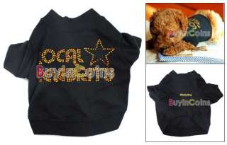 New Black Cotton Puppy Pet Dog Clothes Suit Jacket Apparel T Shirt