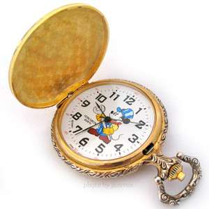 DISNEY MICKEY MOUSE Gold Tone Railroad Tracks Train Ride POCKET WATCH