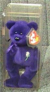 Rare Ty Princess Diana Beanie Baby Purple Bear 1st Edition 100% Mint